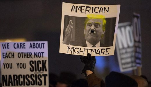 trump hitler protest sign
