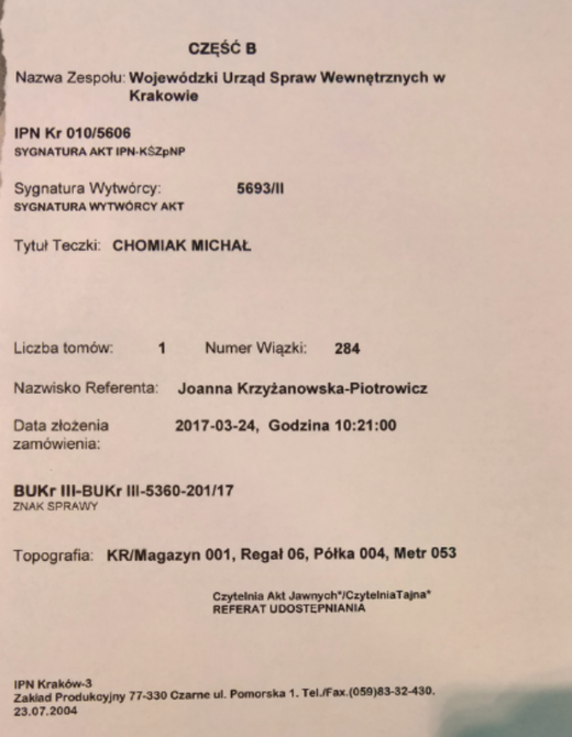 IPN FILE NOTE FOR THE CHOMIAK FILE IN WARSAW