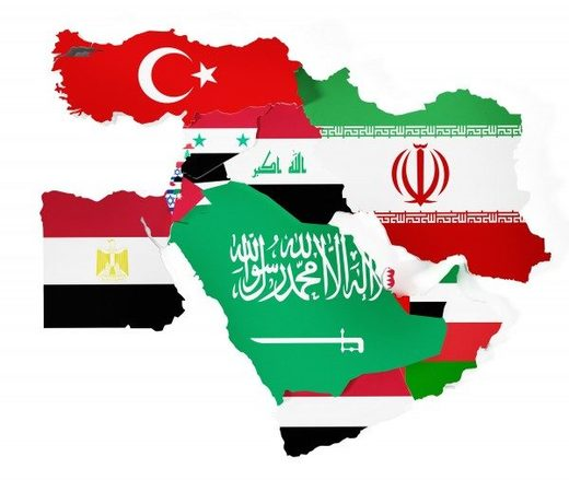 Middle Eastern countries with flags