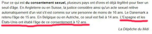 Excerpt from a French newspaper stating that in Spain and in the US age of consent is 12-year old