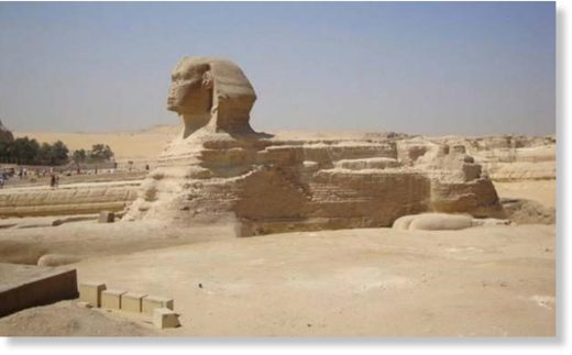 Giza Plateau - Great Sphinx - front view.