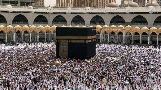 The holy Kaaba at the Grand Mosque in Mecca