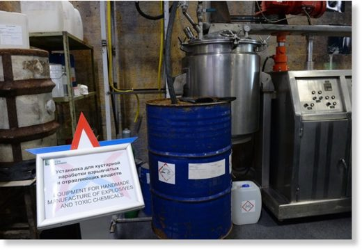 Equipment for handmade manufacture of explosives and toxic chemicals