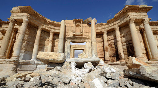 damage in the amphitheater of the historic city of Palmyra