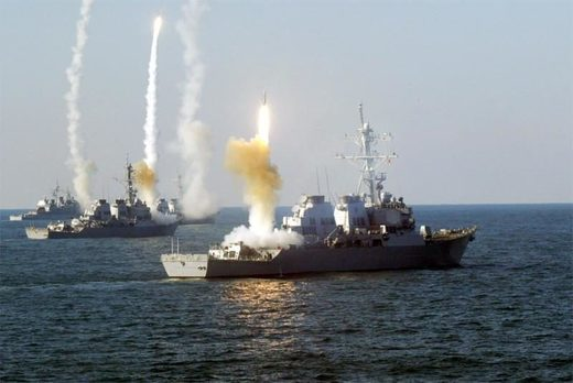 US ships firing Tomahawk missiles