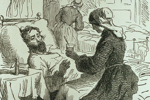 A woman tending to a sick man, 1861. Engraving by Albert Bobbett