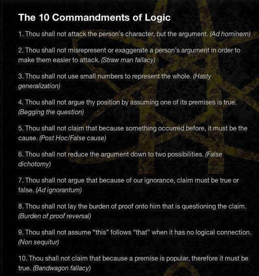 logical fallacies, commandments of logic