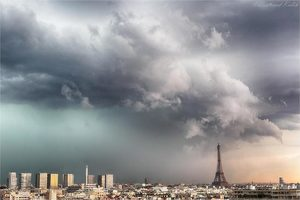 paris storm eiffel tower