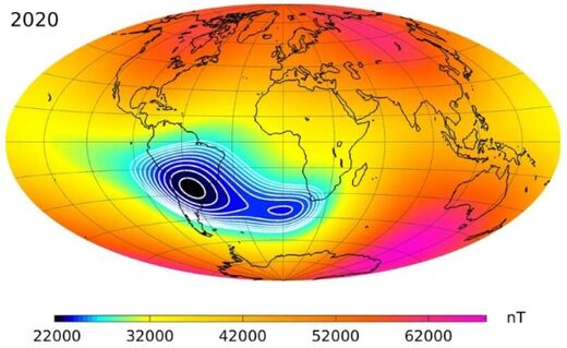The strength of Earth's magnetic field, as of 2020